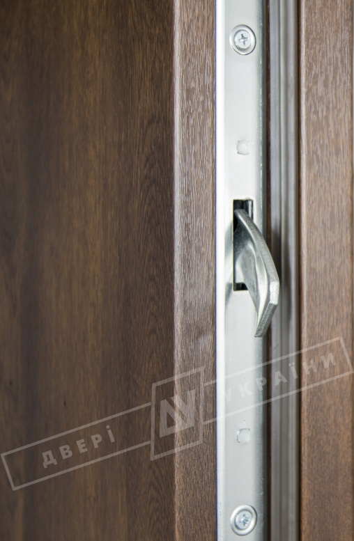 """Двери входные уличные серии """"GRAND HOUSE 73 mm"""" / Модель №4 / цвет: Тёмный орех / Защитная ручка на планке"""