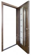 """Двери входные уличные серии """"GRAND HOUSE 73 mm"""" / Модель №2 / цвет: Тёмный орех / Ручка - скоба"""