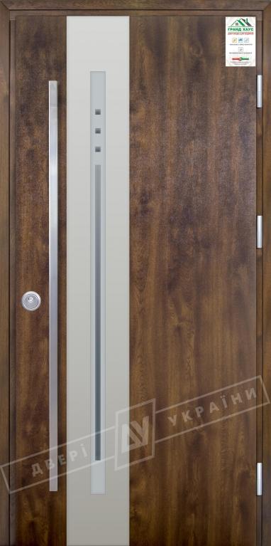 """Двери входные уличные серии """"GRAND HOUSE 73 mm"""" / Модель №4 / цвет: Тёмный орех / Ручка - скоба"""