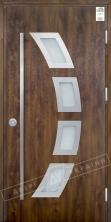 """Двери входные уличные серии """"GRAND HOUSE 73 mm"""" / Модель №5 / цвет: Тёмный орех / Ручка-скоба [2 стороны]"""
