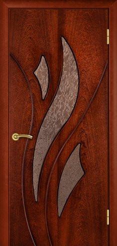 """УЦІНЕНЕ Полотно дверне""""Термінус""""модель """"Лілія"""" ,р.2000*600,зі склом, шпоноване,колір сапелі."""