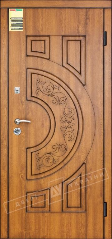 """Двері вхідні внутрішні """"Сіті 1/1"""" 2050*860мм, модель """"Злата"""" горіх світлий D722, праві."""
