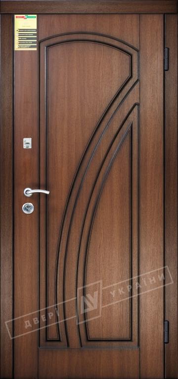 """Двері вхідні внутрішні """"Сіті 1/1"""" 2050*860мм, модель """"Кліо"""" горіх Гварнері VTF 5013-19. + П, праві."""