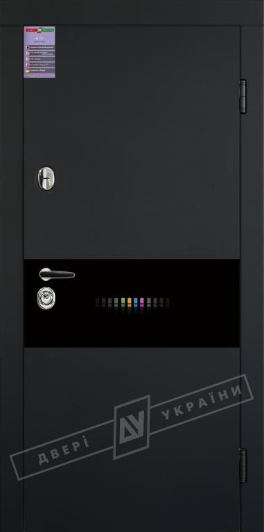 Двери входные серии ИНТЕР / Комплектация №1 [KALE] / ART GLASS 12 / Чёрный софттач RB5013UD-B10-0,35 / Белый супермат WHITE_02