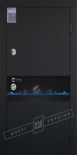 Двери входные серии ИНТЕР / Комплектация №1 [KALE] / ART GLASS 14 / Чёрный софттач RB5013UD-B10-0,35 / Белый супермат WHITE_02