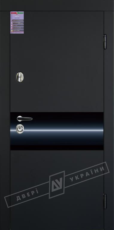 """Двері вх.вн""""ІНТЕР 5/1""""2040*880мм,""""ArtGlass"""",(Р3/Р4),чорний RB5013UD Терм./білий супермат Тер,праві"""