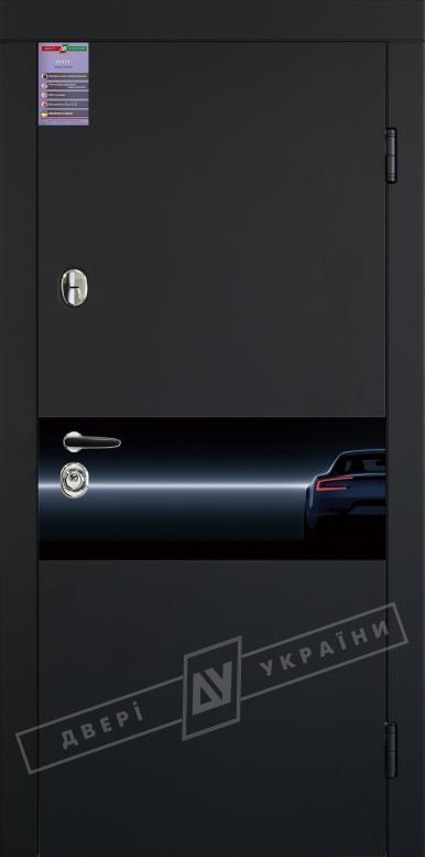 Двери входные серии ИНТЕР / Комплектация №1 [KALE] / ART GLASS 3 / ART GLASS 9 / Чёрный софттач RB5013UD-B10-0,35 / Белый супермат WHITE_02
