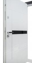 """Двери входные серии """"БС 3"""" модель ЭЛИС чёрное стекло / Комплектация №3 SECUREMME / Чёрная шагрень BLACK-101C / Белый супермат WHITE_02"""