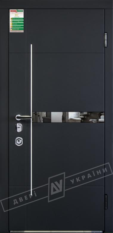 Двери входные серии БС / Комплектация №4 [MOTTURA] / ЭЛИС зеркало / Чёрный софттач RB5013UD-B10-0,35