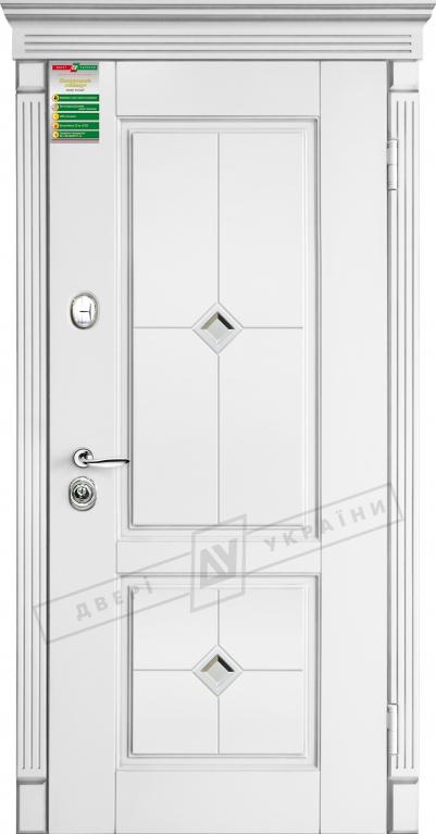Двери входные серии БС / Комплектация №1 [RICCARDI] / ПРОВАНС 2 Кристал / Белый супермат WHITE_02