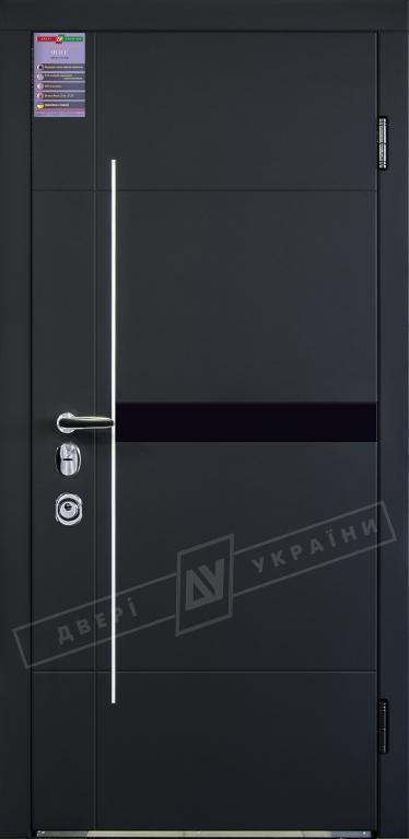 """Двери входные серии """"ИНТЕР"""" модель Элис чёрный софттач Моттура"""