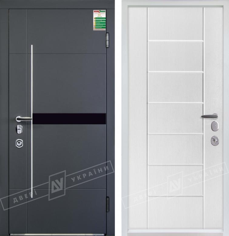 """Двери входные серии """"БС 3"""" модель ЭЛИС чёрное стекло / НИКА М / Комплектация №4 MOTTURA / Антрацит DE-18AP-005 / Белый супермат WHITE_02"""