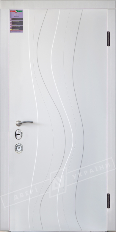 Двери входные серии ИНТЕР / Комплектация №3 [MOTTURA] / ЛИАНА / Белый супермат WHITE_02