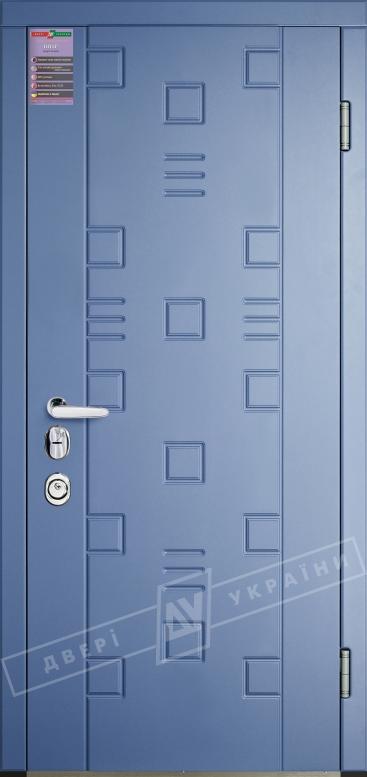 Двери входные серии ИНТЕР / Комплектация №3 [MOTTURA] / ТРЕК 1 / Голубой графит (шагрень) BLU 01_101С