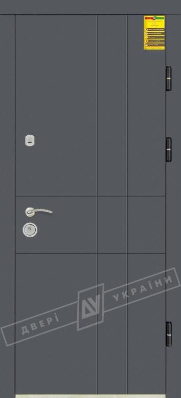 """Двери входные серии """"СИТИ 3"""" / Комплектация №1 [KALE] / ГРАФИКА 2 / Антрацит ANT01-105C / Белый супермат WHITE_02"""