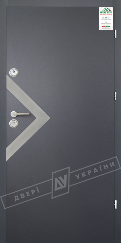 """Двери входные уличные серии """"GRAND HOUSE 56 mm"""" / Модель №6 / цвет: Графит металлик муар"""