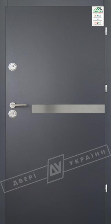 """Двери входные уличные серии """"GRAND HOUSE 56 mm"""" / Модель №8 / цвет: Графит металлик муар"""