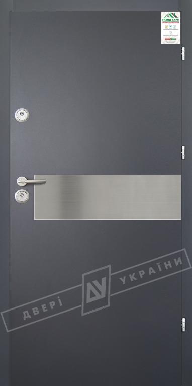 """Двери входные уличные серии """"GRAND HOUSE 56 mm"""" / Модель №9 / цвет: Графит металлик муар"""