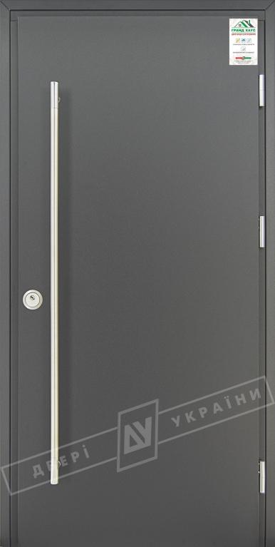"""Двери входные уличные серии """"GRAND HOUSE 73 mm"""" / Модель """"ФЛЕШ"""" / цвет: Графит металлик / Ручка-скоба [2 стороны]"""