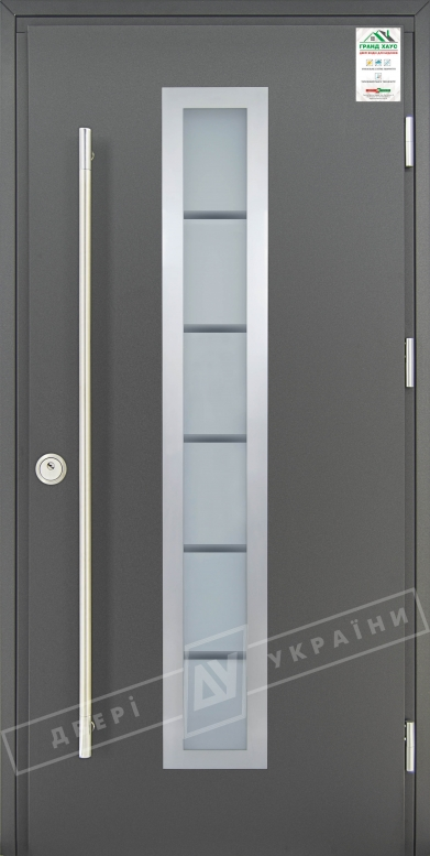 """Двери входные уличные серии """"GRAND HOUSE 73 mm"""" / Модель №4 / цвет: Графит металлик / Ручка-скоба [2 стороны]"""