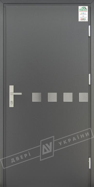 """Двери входные уличные серии """"GRAND HOUSE 73 mm"""" / Модель №10 / цвет: Графит металлик / Защитная ручка на планке"""