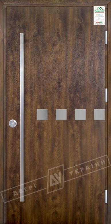 """Двери входные уличные серии """"GRAND HOUSE 73 mm"""" / Модель №10 / цвет: Тёмный орех / Ручка - скоба [2 стороны]"""