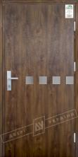"""Двери входные уличные серии """"GRAND HOUSE 73 mm"""" / Модель №10 / цвет: Тёмный орех / Защитная ручка на планке"""