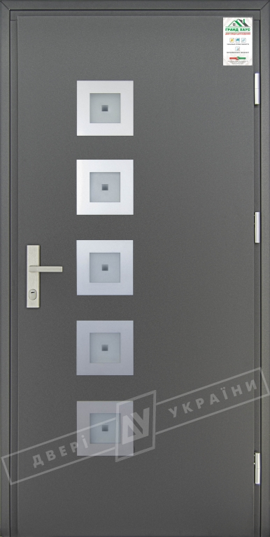 """Двери входные уличные серии """"GRAND HOUSE 73 mm"""" / Модель №2 / цвет: Графит металлик / Защитная ручка на планке"""