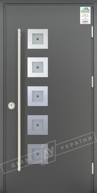 """Двери входные уличные серии """"GRAND HOUSE 73 mm"""" / Модель №2 / цвет: Графит металлик / Ручка-скоба [2 стороны]"""