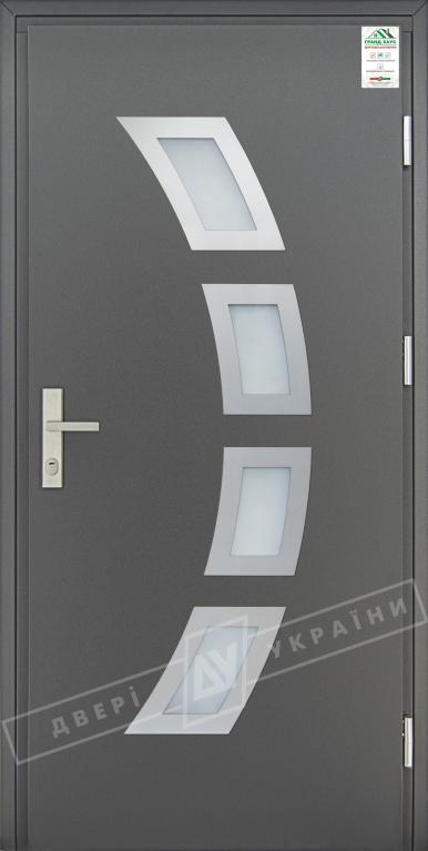 """Двери входные уличные серии """"GRAND HOUSE 73 mm"""" / Модель №5 / цвет: Графит металлик / Защитная ручка на планке"""