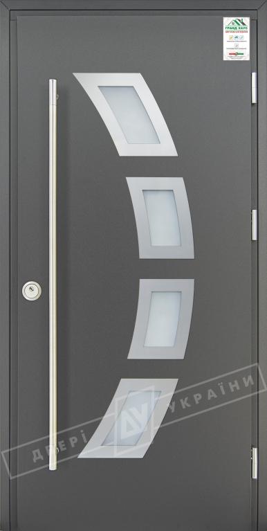 """Двери входные уличные серии """"GRAND HOUSE 73 mm"""" / Модель №5 / цвет: Графит металлик / Ручка-скоба [2 стороны]"""