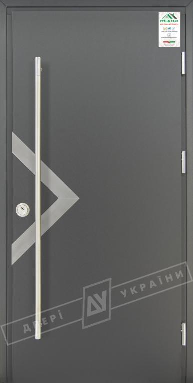 """Двери входные уличные серии """"GRAND HOUSE 73 mm"""" / Модель №6 / цвет: Графит металлик / Ручка-скоба [2 стороны]"""