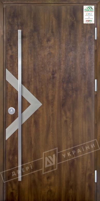 """Двери входные уличные серии """"GRAND HOUSE 73 mm"""" / Модель №6 / цвет: Тёмный орех / Ручка - скоба [2 стороны]"""