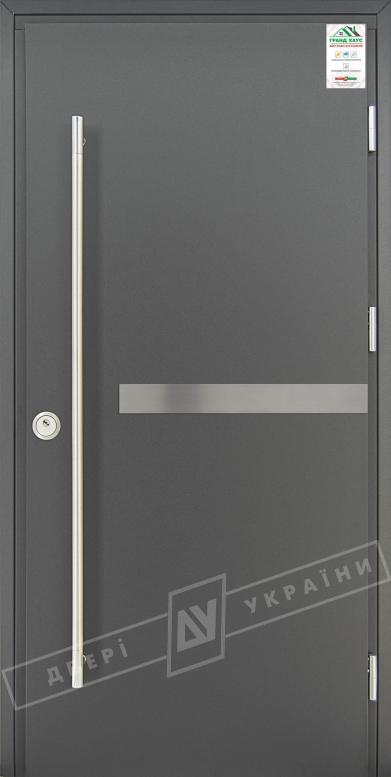 """Двери входные уличные серии """"GRAND HOUSE 73 mm"""" / Модель №8 / цвет: Графит металлик / Ручка-скоба [2 стороны]"""