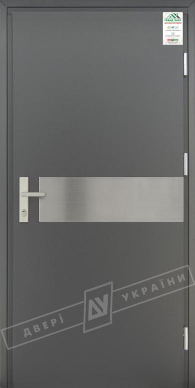"""Двери входные уличные серии """"GRAND HOUSE 73 mm"""" / Модель №8 / цвет: Графит металлик / Защитная ручка на планке"""