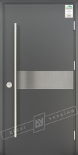 """Двери входные уличные серии """"GRAND HOUSE 73 mm"""" / Модель №9 / цвет: Графит металлик / Ручка-скоба [2 стороны]"""
