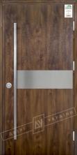 """Двери входные уличные серии """"GRAND HOUSE 73 mm"""" / Модель №8 / цвет: Тёмный орех / Ручка - скоба [2 стороны]"""