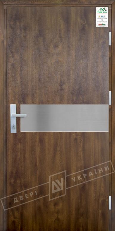 """Двери входные уличные серии """"GRAND HOUSE 73 mm"""" / Модель №9 / цвет: Тёмный орех / Защитная ручка на планке"""