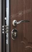 Двери входные серии БС / Комплектация №1 [RICCARDI] / ПРЕСТИЖ / Орех светлый DE-1880-3 + ПАТИНА