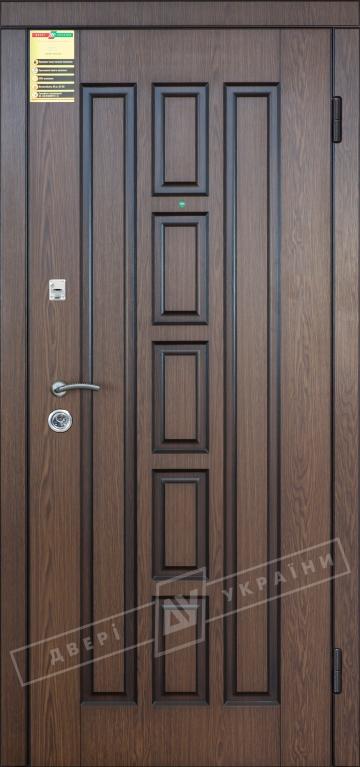 Двері вхідні внутрішні Сіті 11 2050*860мм, модель Квадро дуб темний рустікаль 0501-21, праві.