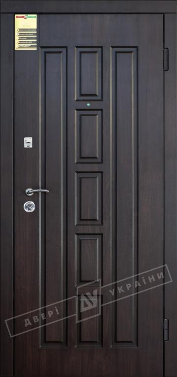 """Двері вхідні зовнішні """"Сіті 1/1"""" 2050*860мм, модель """"Квадро ВТ"""" горіх темний DE-98037-10, праві."""