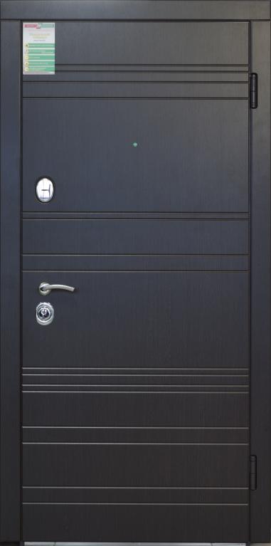 """Двері вхідні внутрішні""""Білоруський стандарт 2/1""""2040*880мм,""""Лайн"""" венге южне МВР1998-10,праві"""