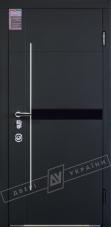 """Двери входные серии """"ИНТЕР 6"""" модель ЭЛИС чёрное стекло / Моттура / Чёрный софттач RB5013UD-B10-0,35 / Белый супермат WHITE_02"""