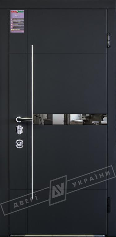Двери входные серии ИНТЕР / Комплектация №3 [MOTTURA] / ЭЛИС зеркало / Чёрный софттач RB5013UD-B10-0,35