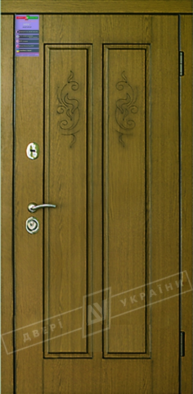 Двери входные серии ИНТЕР / Комплектация №1 [KALE] / ДИВА / Дуб темный рустикаль ОАК 0501-21