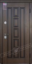 Двери входные серии ИНТЕР / Комплектация №1 [KALE] / КВАДРО / Дуб тёмный рустикаль ОАК 0501-2 + ПАТИНА