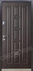 Двери входные серии ИНТЕР / Комплектация №1 [KALE] / КВАДРО / Орех тёмный (дверная) DE-98037-10 + ПАТИНА