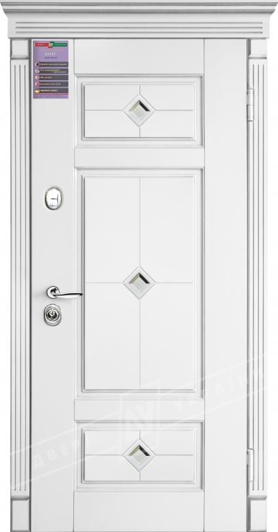 Двери входные серии ИНТЕР / Комплектация №1 [KALE] / ПРОВАНС 4 Кристал / Белый супермат WHITE_02