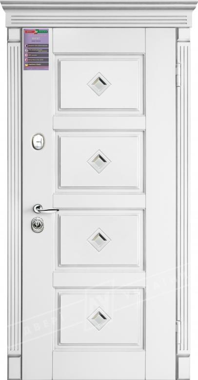 Двери входные серии ИНТЕР / Комплектация №1 [KALE] / ПРОВАНС 6 Кристал / Белый супермат WHITE_02