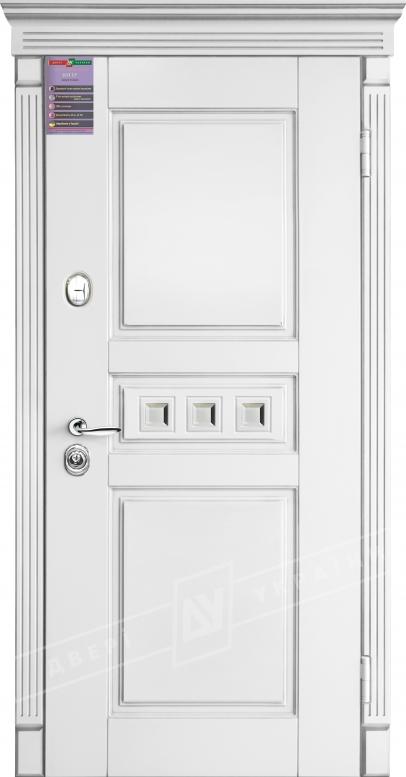 Двери входные серии ИНТЕР / Комплектация №1 [KALE] / ПРОВАНС 7 Кристал / Белый супермат WHITE_02